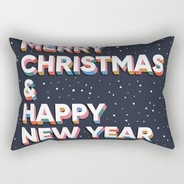 Merry Christmas and Happy New Year text lettering card design Rectangular Pillow