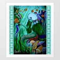 the little mermaid Art Prints featuring Little Mermaid. by Sylvie Heasman