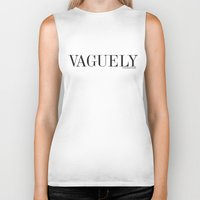 white marble Biker Tanks featuring Vaguely interesting white marble by Clare Stoffels