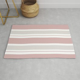Pink  and Light Gray Stripes Rug