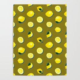 60s Lemon Pattern on Olive Poster