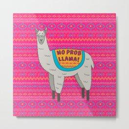 No Prob Llama Metal Print