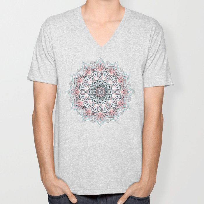 Expansion - boho mandala in soft salmon pink & blue Unisex V-Neck