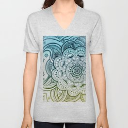 Mandala Blue Yellow Unisex V-Neck