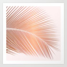 Palm leaf - copper pink Art Print