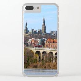 Georgetown Waterfront Washington DC Potomac River Key Bridge Clear iPhone Case