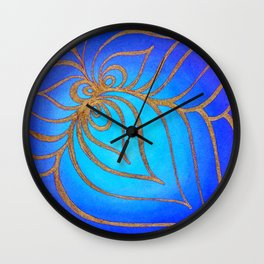 Golden net over the abyss Wall Clock