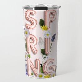 Rose Gold Spring Flower Blush Travel Mug