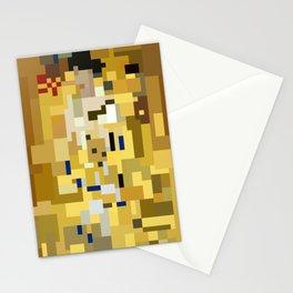 Low res golden kiss Klimt pixel art 8 Bit Mosaic Stationery Cards
