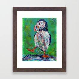 Dancing puffin Framed Art Print