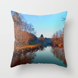 Winter mood on the river | waterscape photography Throw Pillow