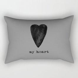 My Black Heart - Gray Background Rectangular Pillow