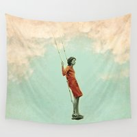 lucy Wall Tapestries featuring Lucy in the sky by Vin Zzep