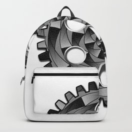 Gearwheel in black and white Backpack
