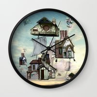 house Wall Clocks featuring house by Кaterina Кalinich