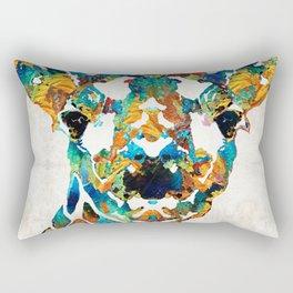 Colorful Giraffe Art - Curious - By Sharon Cummings Rectangular Pillow