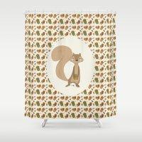 squirrel Shower Curtains featuring Squirrel by Jane Mathieu