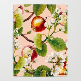 White apple blossoms and apples Poster