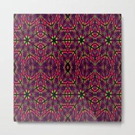 Magenta Neon Green Psychedelic Pattern Metal Print