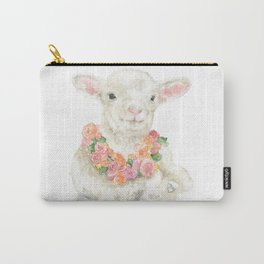 Baby Lamb Floral Watercolor Farm Animal Carry-All Pouch
