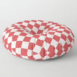 Red and White Checkered Diamond Pattern Floor Pillow