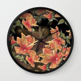 Yellow roses . Imitation glass .3D/ Wall Clock