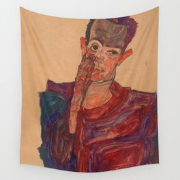 "Egon Schiele ""Self-Portrait with Eyelid Pulled Down"" Wall Tapestry"
