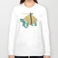 ninja turtle Long Sleeve T-shirts featuring ninja - blue by Louis Roskosch