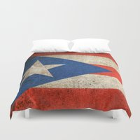 puerto rico Duvet Covers featuring Old and Worn Distressed Vintage Flag of Puerto Rico by Jeff Bartels