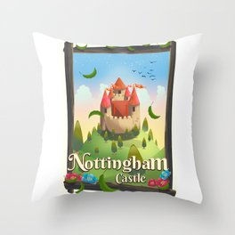 Nottingham Castle Travel poster Throw Pillow
