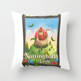 Nottingham Castle Travel poster Throw Pillow