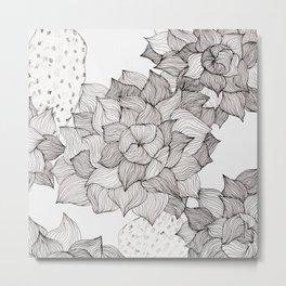 Black and white echeveria succulent Metal Print