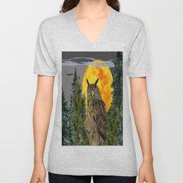 OWL WITH FULL MOON & PINE TREES GREY ART Unisex V-Neck