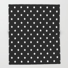 Black Background With White Stars Pattern Throw Blanket