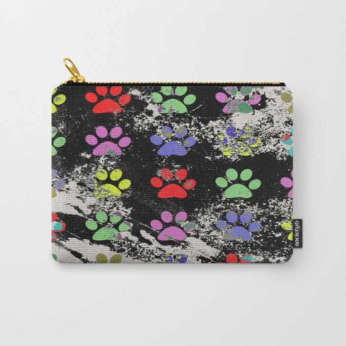 Paw Prints Pattern III - Textured Carry-All Pouch