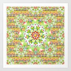 Fiesta Rainbow Mandala Art Print