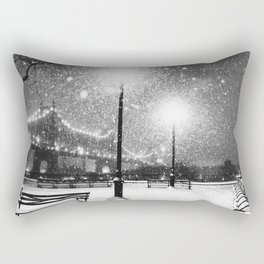 New York City Night Snow Rectangular Pillow