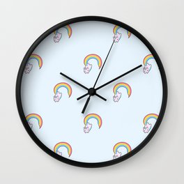 Kawaii proud rainbow cattycorn pattern Wall Clock
