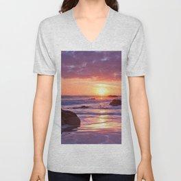 decline horizon sun coast stones romanticism sea Unisex V-Neck