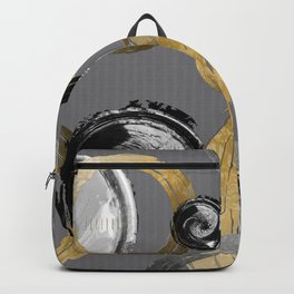 Modern Abstract Golden Rings Black and White Swirl Circles Backpack