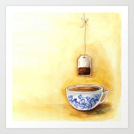 A cup of tea watercolor illustration Art Print