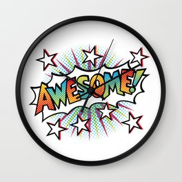Pop Art Awesome! Text Design Wall Clock