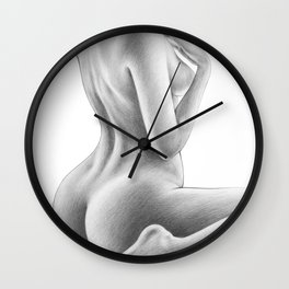 Naked Woman Figure Drawing | Nude Art | Sexy | Sexual Art | Butt and Back View Wall Clock