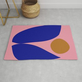 Abstract Cut Out Floral Art in Pink, Blue, and Mustard Yellow Rug
