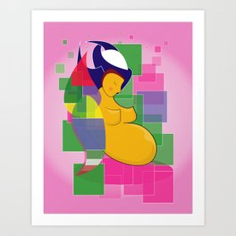 Mother of blue and green on the wall tapestry of pink color Art Print