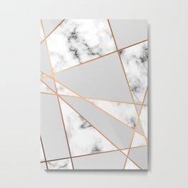 Copper smokey marble geo Metal Print
