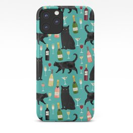 Black cat wine champagne cocktails cat breeds cat lover pattern art print iPhone Case