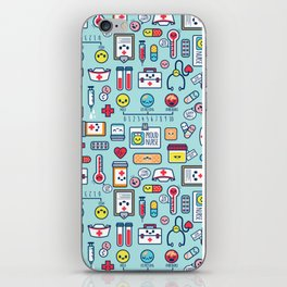 Proud To Be a Nurse Pattern / Blue iPhone Skin