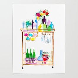 Watercolour Bar Cart Poster
