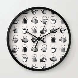 Inky Teapot Pattern Wall Clock